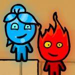 Chico fuego y chica agua en el templo de la luz